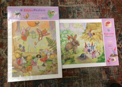 Poster pakketten van 4 posters van elfjes of kabouters €12.50