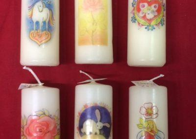Kaarsen 10 cm hoog en diameter 4 cm €3,- per stuk