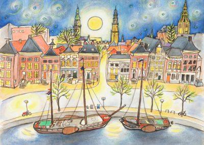 """""""Maanlicht over Groningen"""" jubileumprent in oplage van 30 van mijn uitzicht van het atelier. Prijs €70.-"""